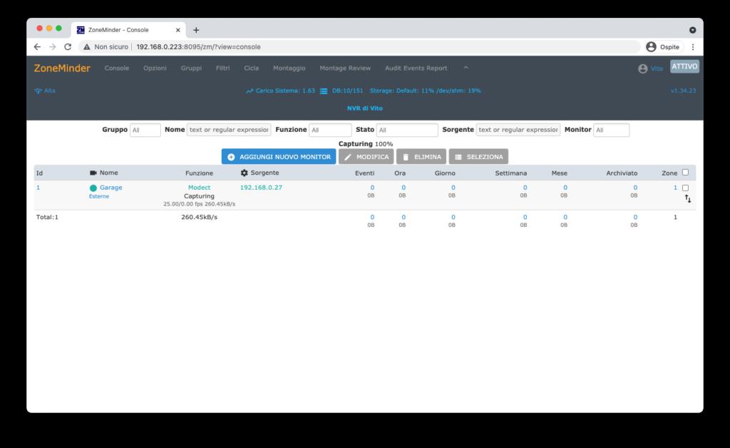 ZoneMinder Videosorveglianza - Configurazione Monitor Console