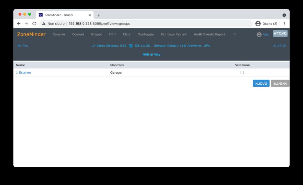 ZoneMinder Videosorveglianza - Configurazione Monitor Gruppi 2